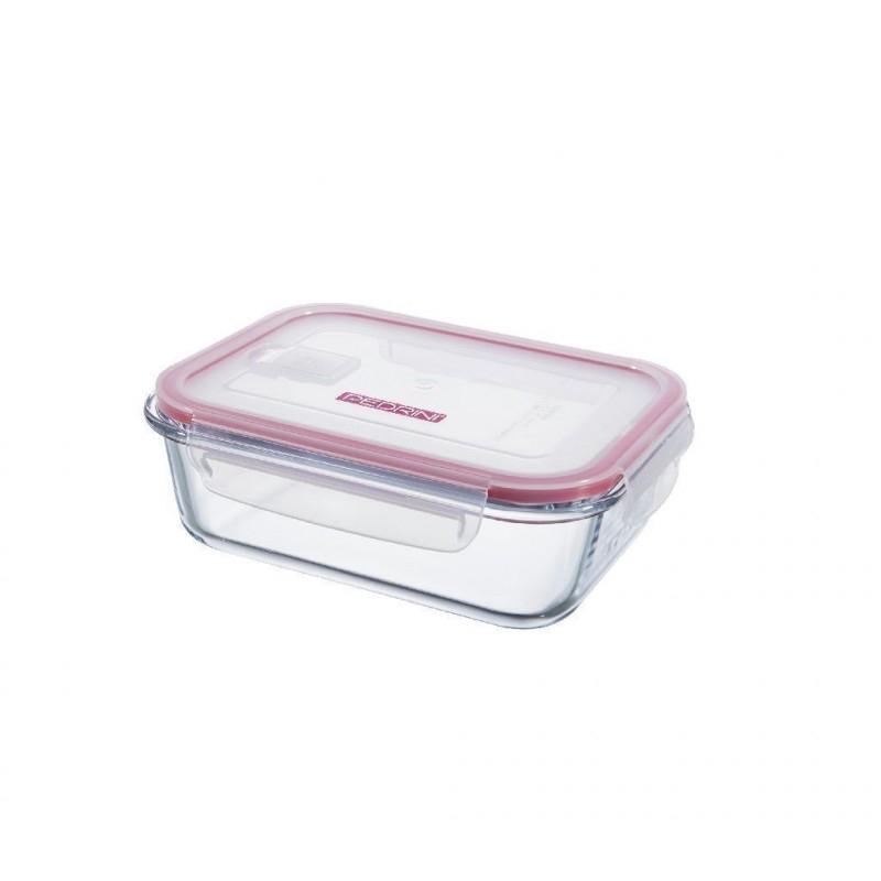 Pedrini Contenitore in Vetro Ermetico Trasparente 1000 ml Rettangolare con Coperchio Rosa Trasparente per Alimenti