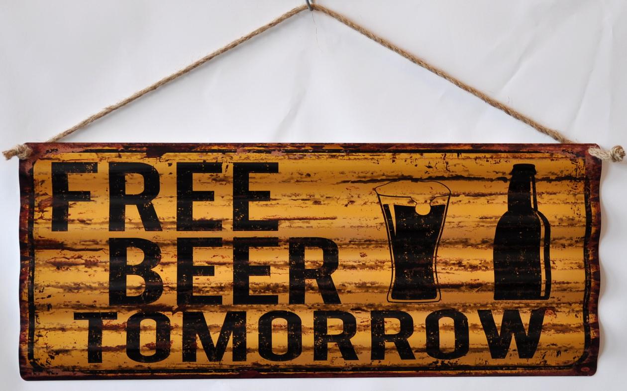 Pannello targa metallo Free Beer