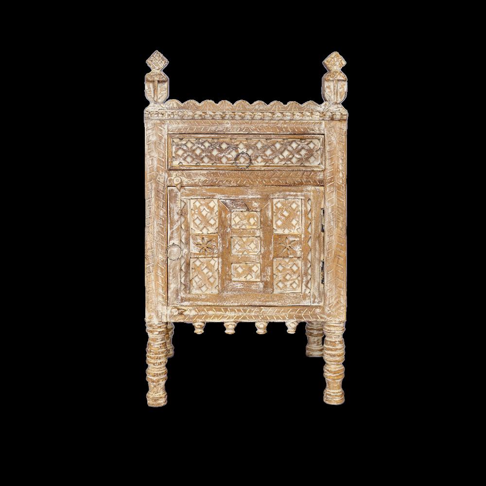 Comodino / mobiletto in legno di palissandro con antina apertura destra