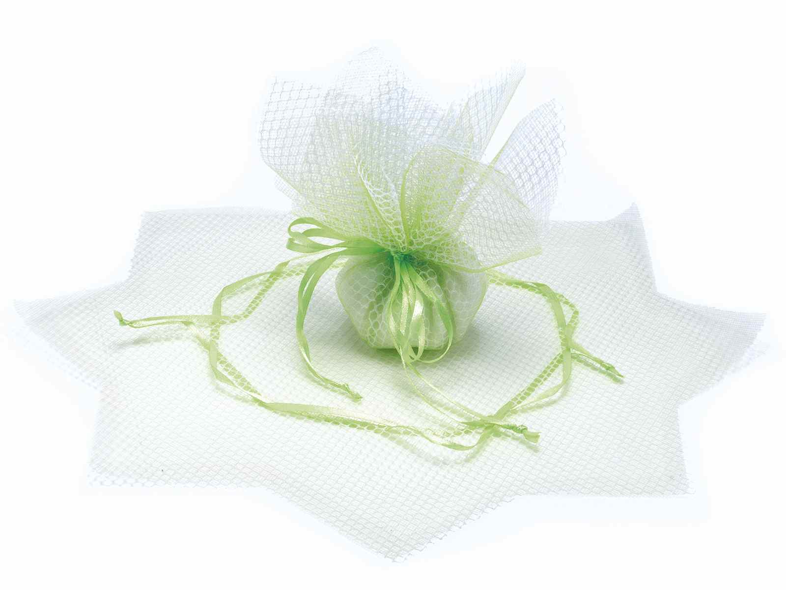 Tulle a sacchetto a rete verde mela con tirante base a stella e bicolore