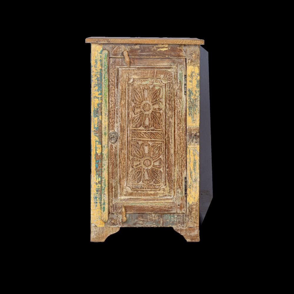 Comodino in legno di teak con ripiano interno ed antina recuperata