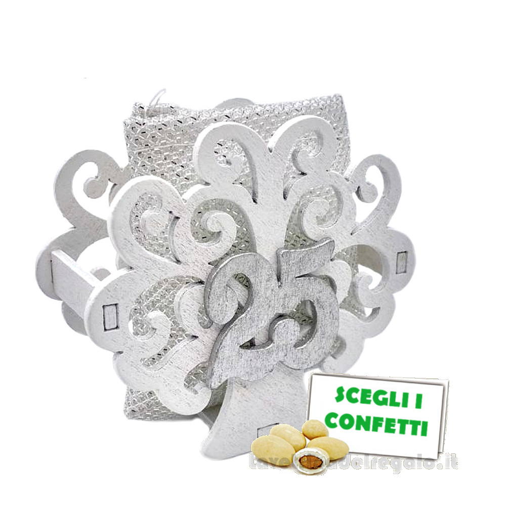 Portaconfetti Argento con Albero della Vita 25° Anniversario 8x7.5x5.5 cm - Sacchetti nozze d'argento