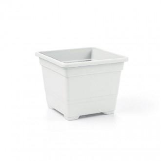 Veca Vaso Quadrato 38 cm Colore Bianco Ideale per Fiori e Piante da Giardino