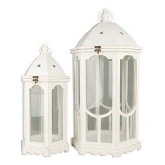 Vea Set Lanterna Pavillon Small Bianca Con Decorazioni Varie Con Spazio Candela e Chiusura con Gancio
