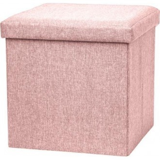 Vea Pouf Tex 38x38 cm Rosa Antico Contenitore Salva Spazio e Arredo per la Casa