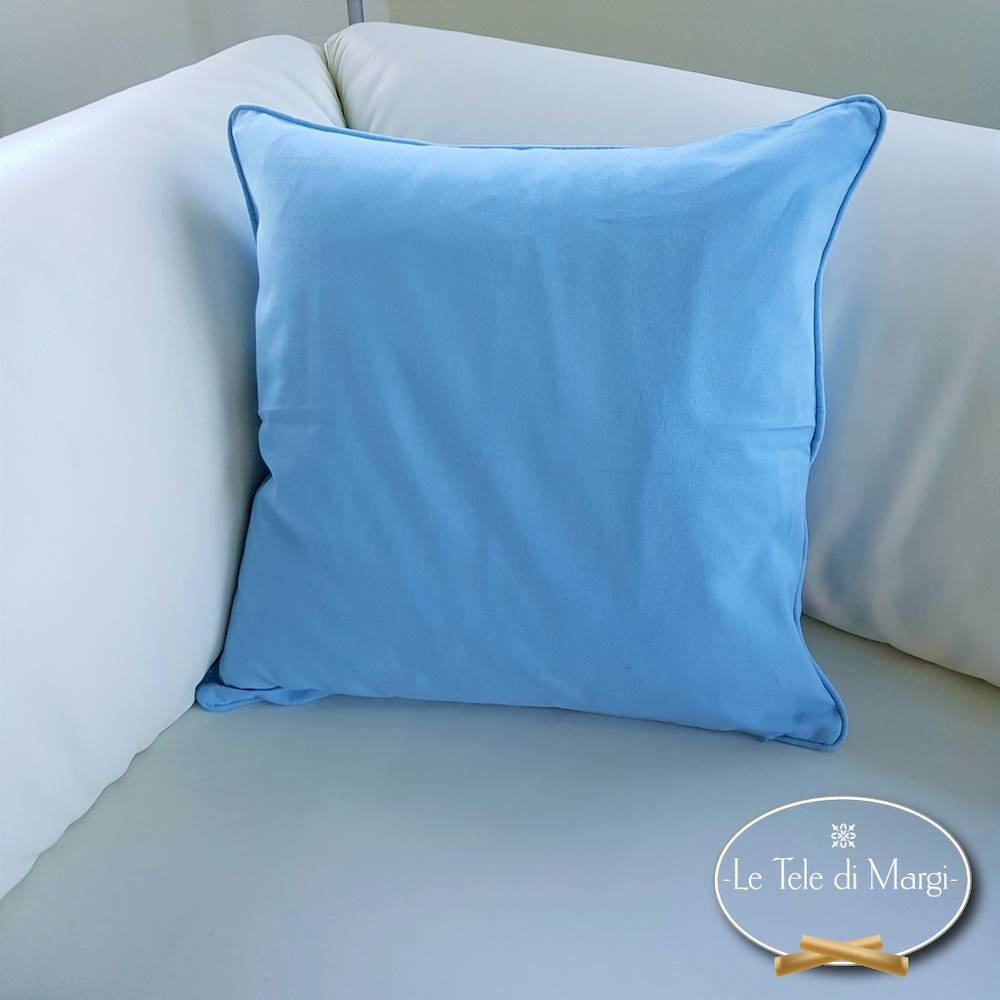 Fodera cuscino tinta unita Azzurro