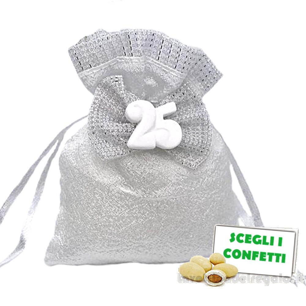 Portaconfetti Argento con fiocco 25° Anniversario 9x11 cm - Sacchetti nozze d'argento
