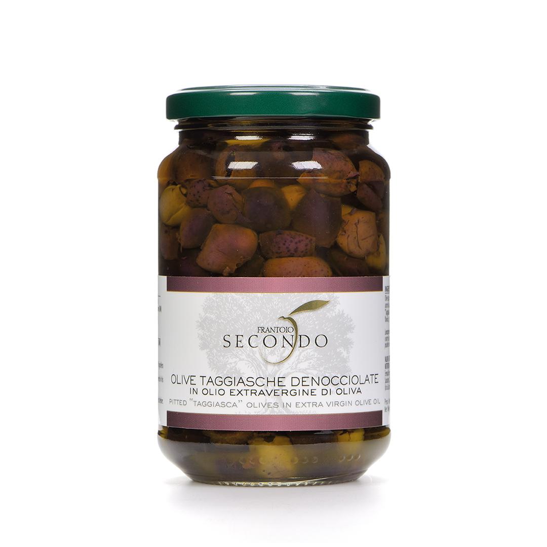 Olive taggiasche denocciolate in olio extra vergine di oliva | Barattolo da 300 gr.