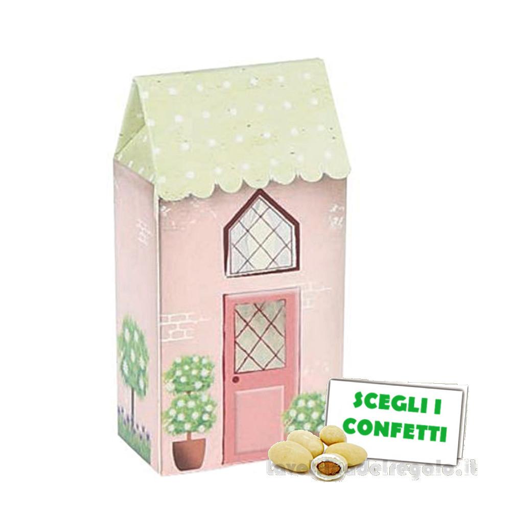 Portaconfetti Casa grande Rosa Dolce City 5x3x10.5 cm - Scatole battesimo bimba
