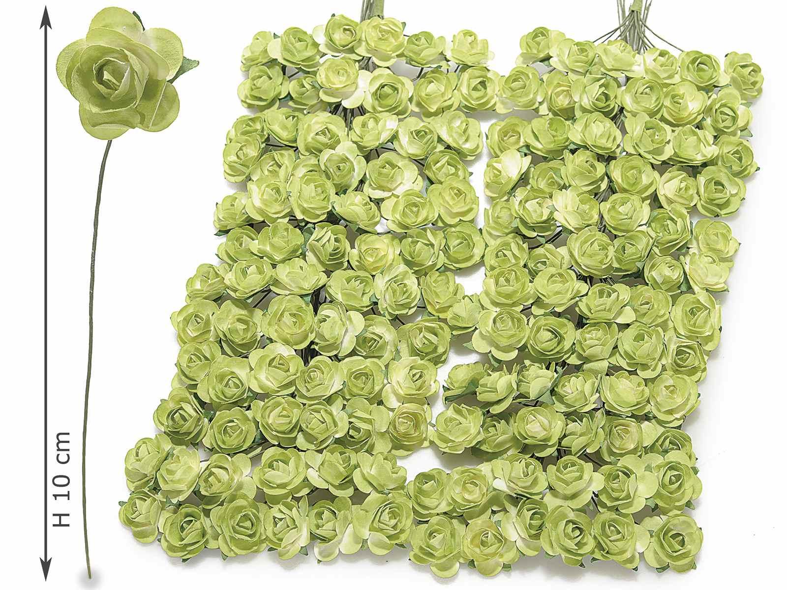 Rosellina artificiale in carta verde per bomboniera
