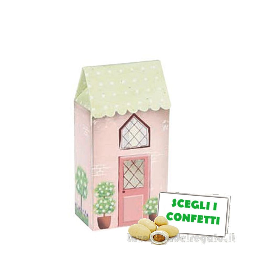 Portaconfetti Casa piccola Rosa Dolce City 3.5x2.3x7 cm - Scatole battesimo bimba