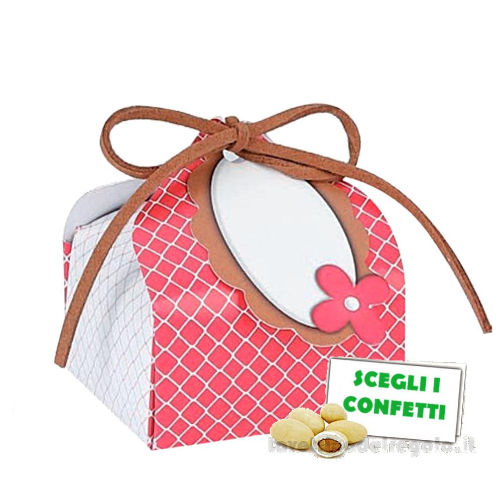 Portaconfetti Rosso ciliegia con targhetta 5x5x7.5 cm - Scatole battesimo bimba
