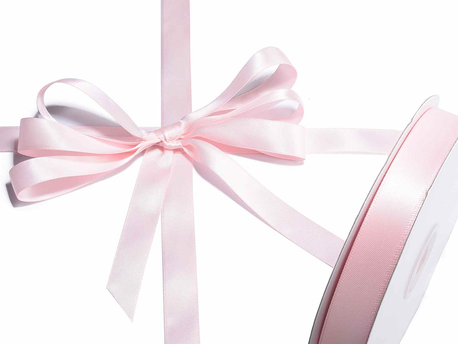 Nastro doppio raso rosa confetto mm 15 x 50 mt