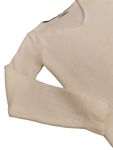 Maglioncino donna in lana e viscosa | colore bianco | scollo a V | made in Italy