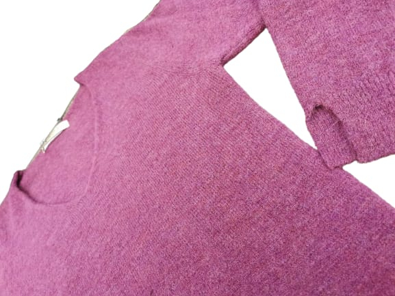 Maglioncino donna in lana e viscosa | colore prugna | scollo a V | made in Italy-2