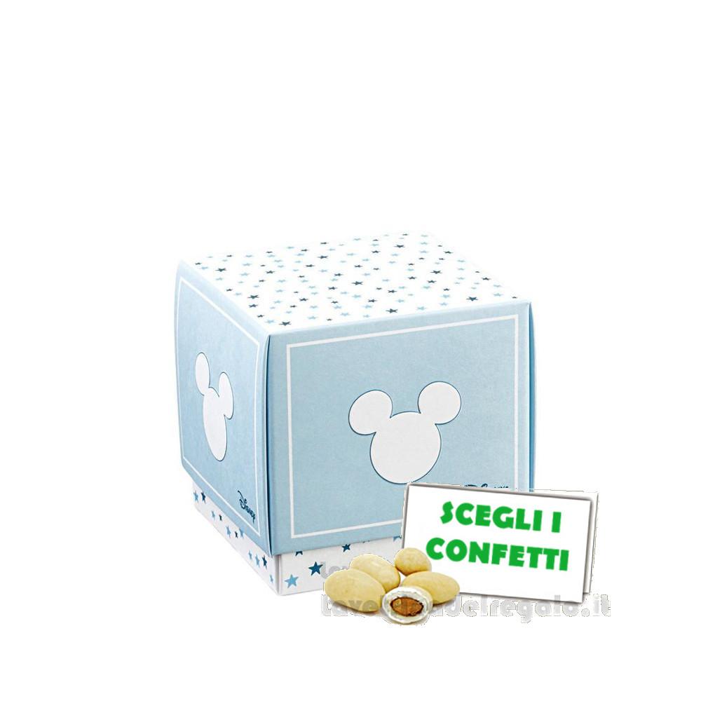 Portaconfetti Mickey Mouse Stars Celeste 5x5x5 cm - Scatole battesimo bimbo