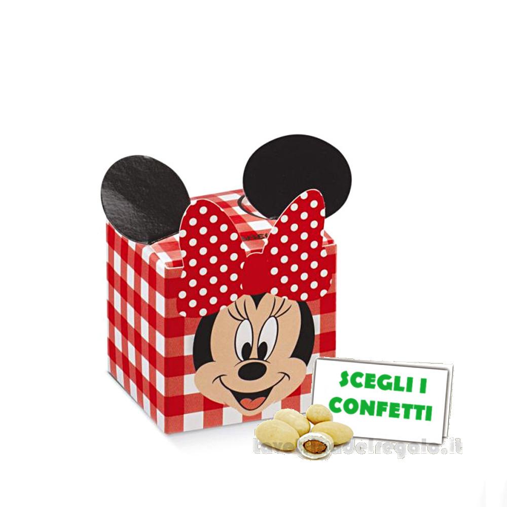 Portaconfetti Minnie Disney Party Rossa con orecchie 5x5x5 cm - Scatole battesimo bimba