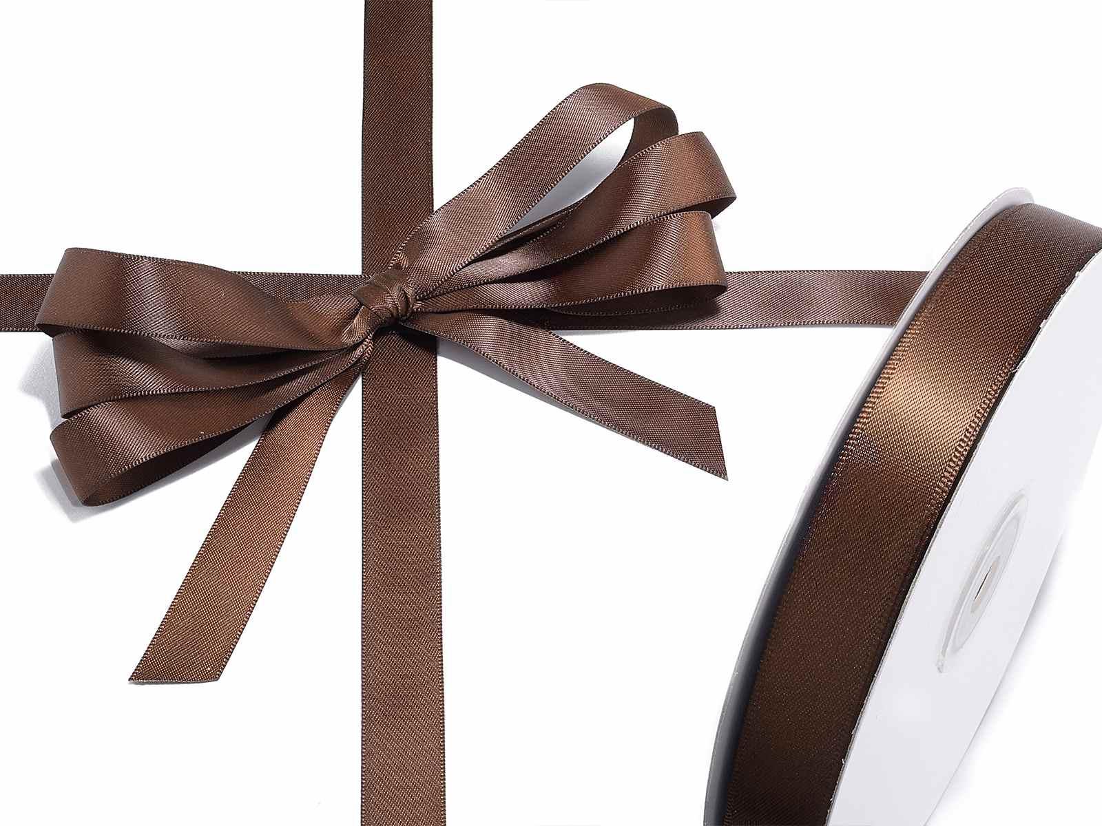 Nastro doppio raso marrone cioccolato mm 15 x 50 mt