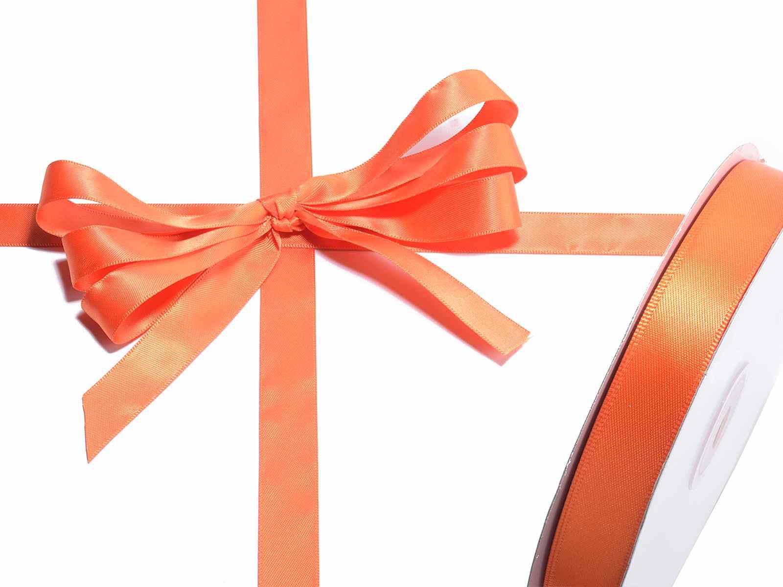 Nastro doppio raso arancione fiamma mm 15 x 50 mt