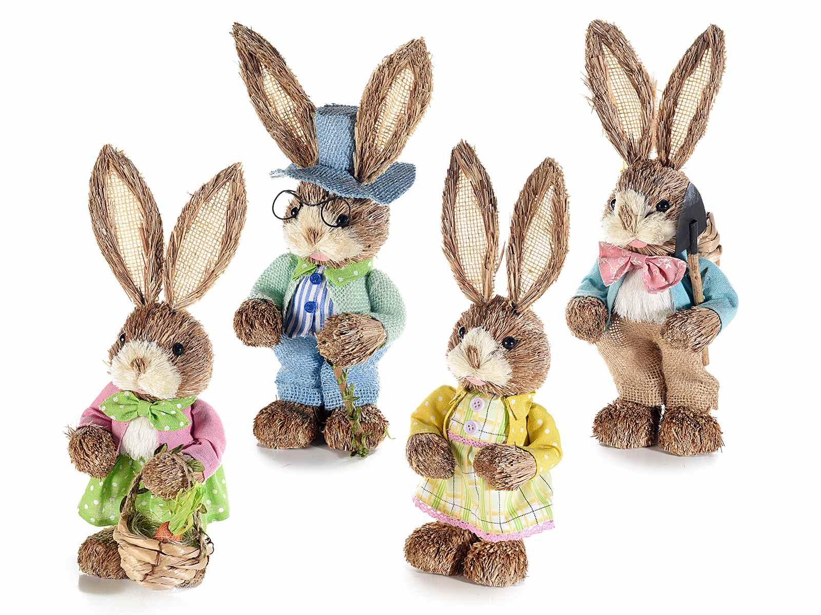 Famiglia set 4 coniglietti in fibra naturale Pasqua