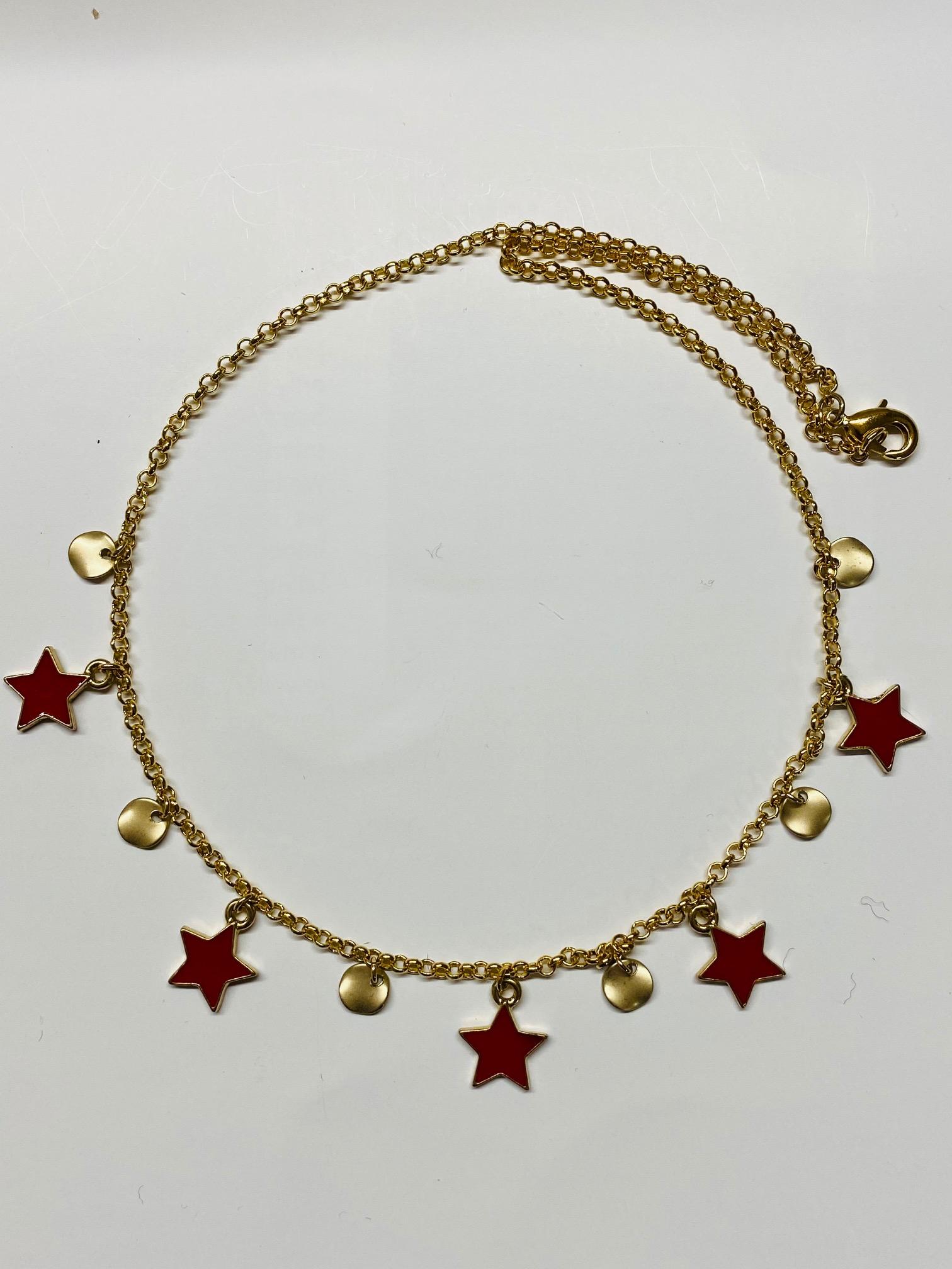 Collana girocollo ciondoli stelle rosse