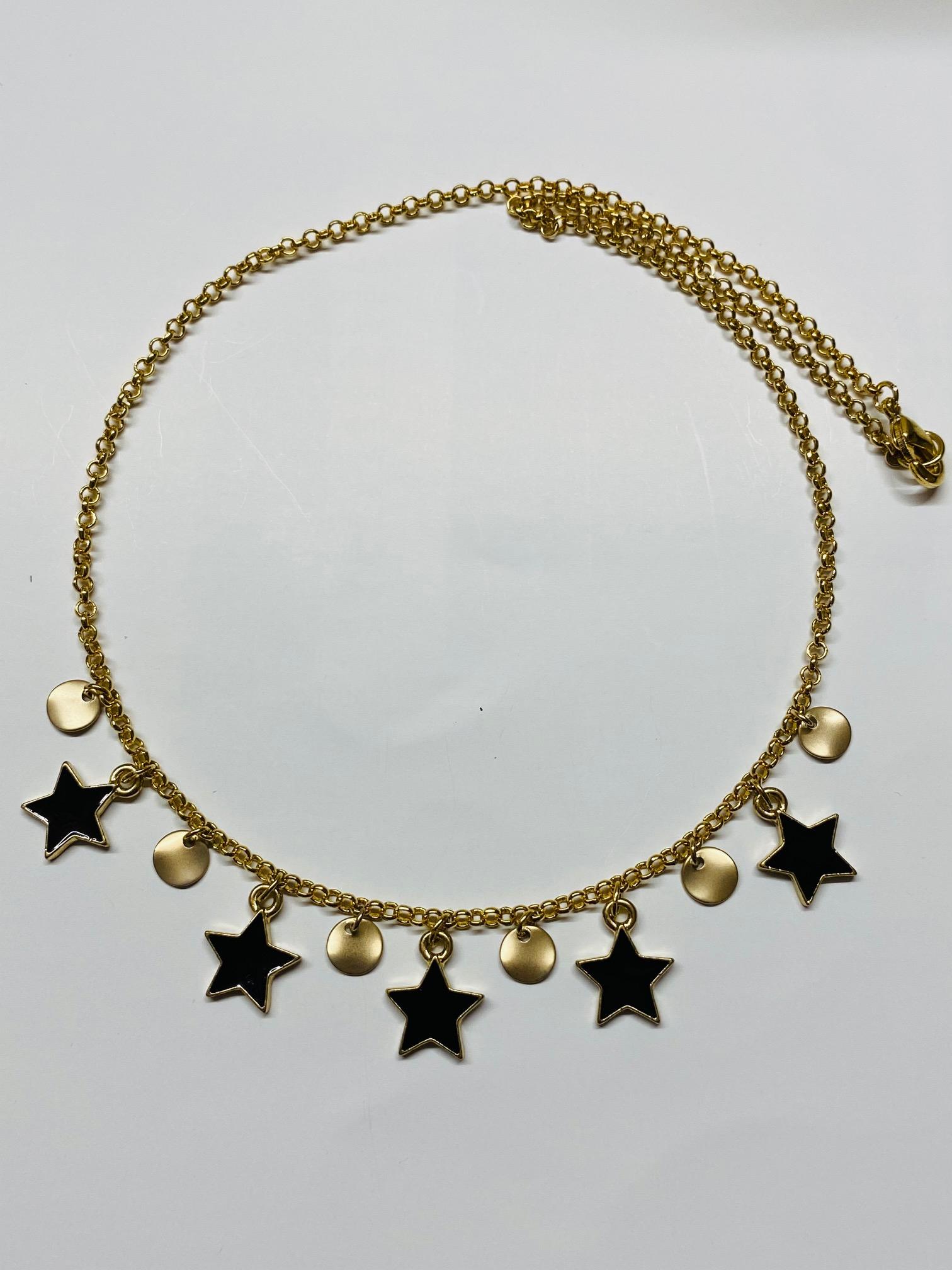 Collana girocollo ciondoli stelle nere