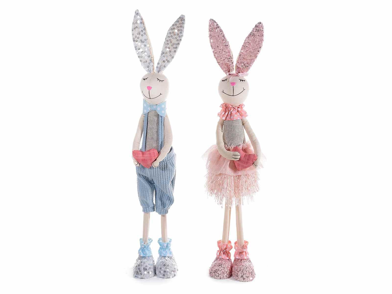 Coppia conigli decorativi in stoffa con cuore decorativo