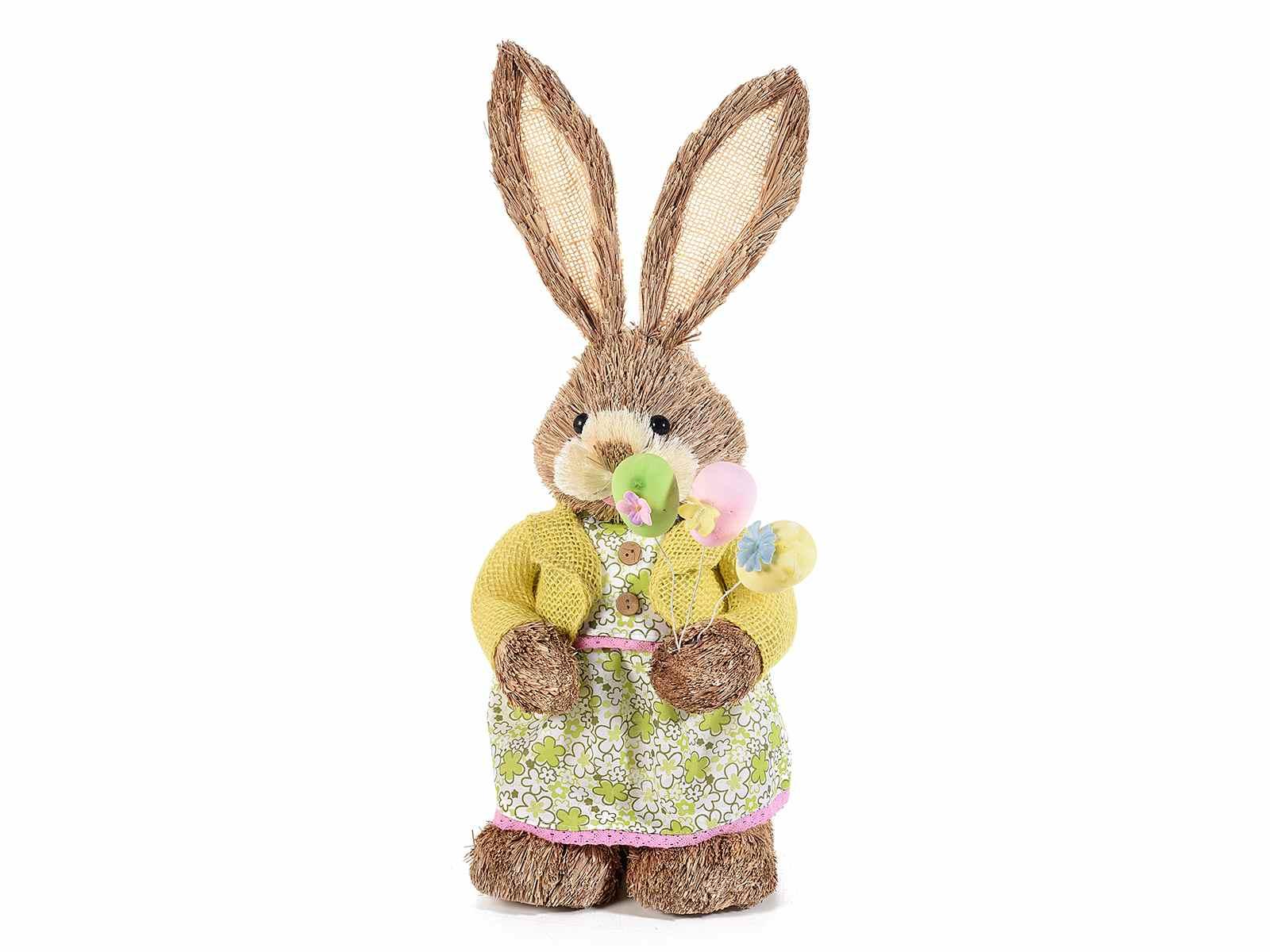 Coniglietto in fibra naturale con uova colorate