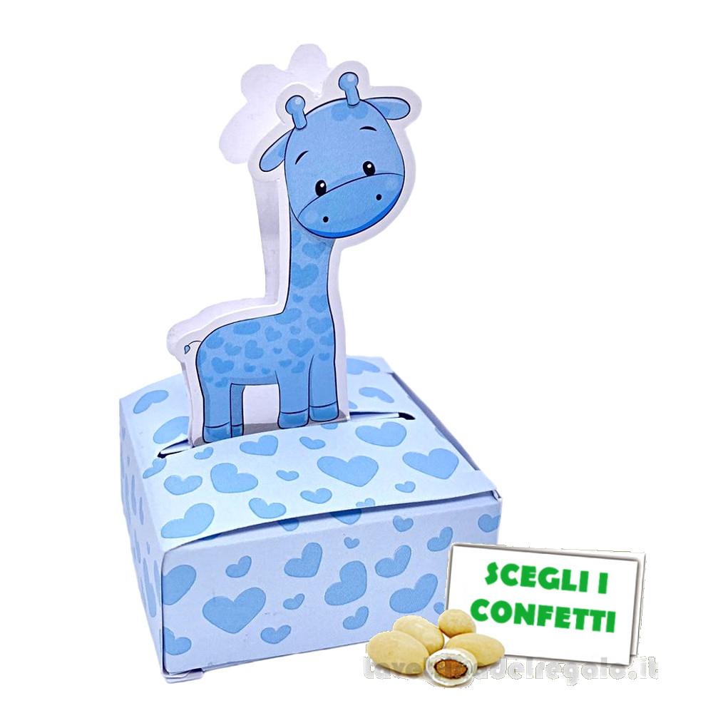 Portaconfetti Celeste con giraffa 5x3x6 cm - Scatole battesimo bimbo