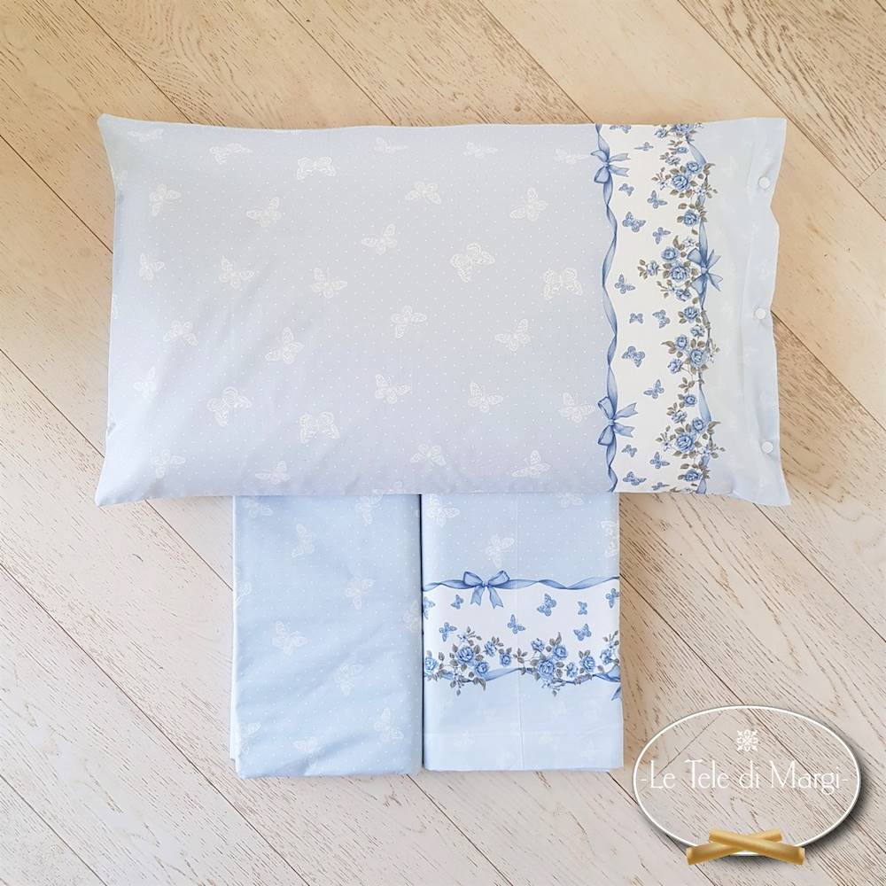 Completo Lenzuola Farfalle azzurre