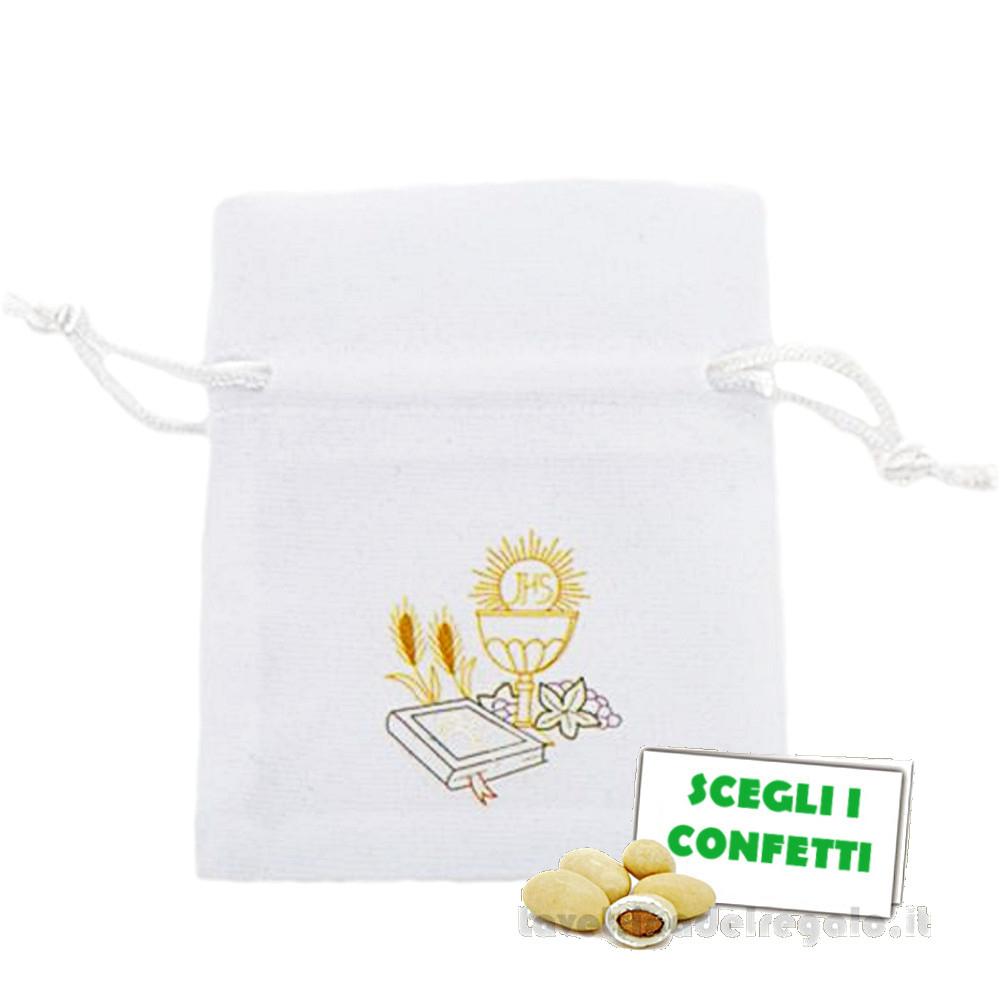 Portaconfetti Bianco in vellutino 8x10 cm - Sacchetti comunione