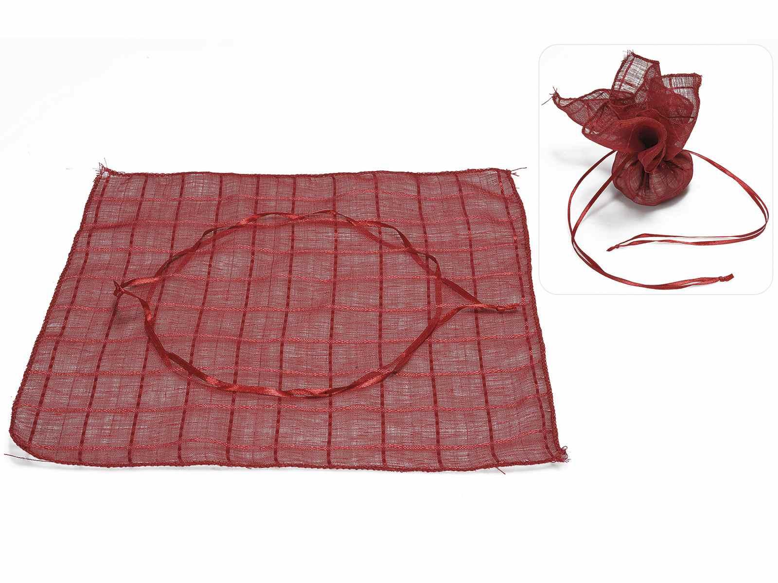 Tulle quadrato a sacchetto in stoffa quadri rosso rubino con tirante