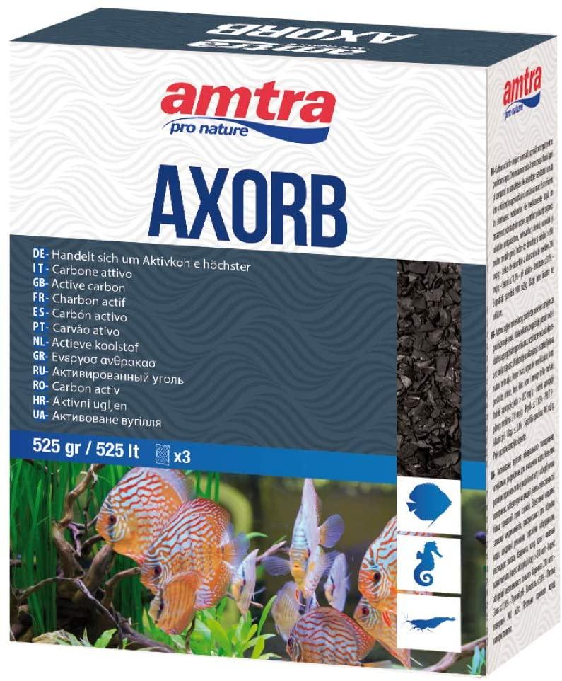 AMTRA AXORB – Carbone attivo di origine minerale per acquari, Acqua cristallina, previene gli odori  525GR