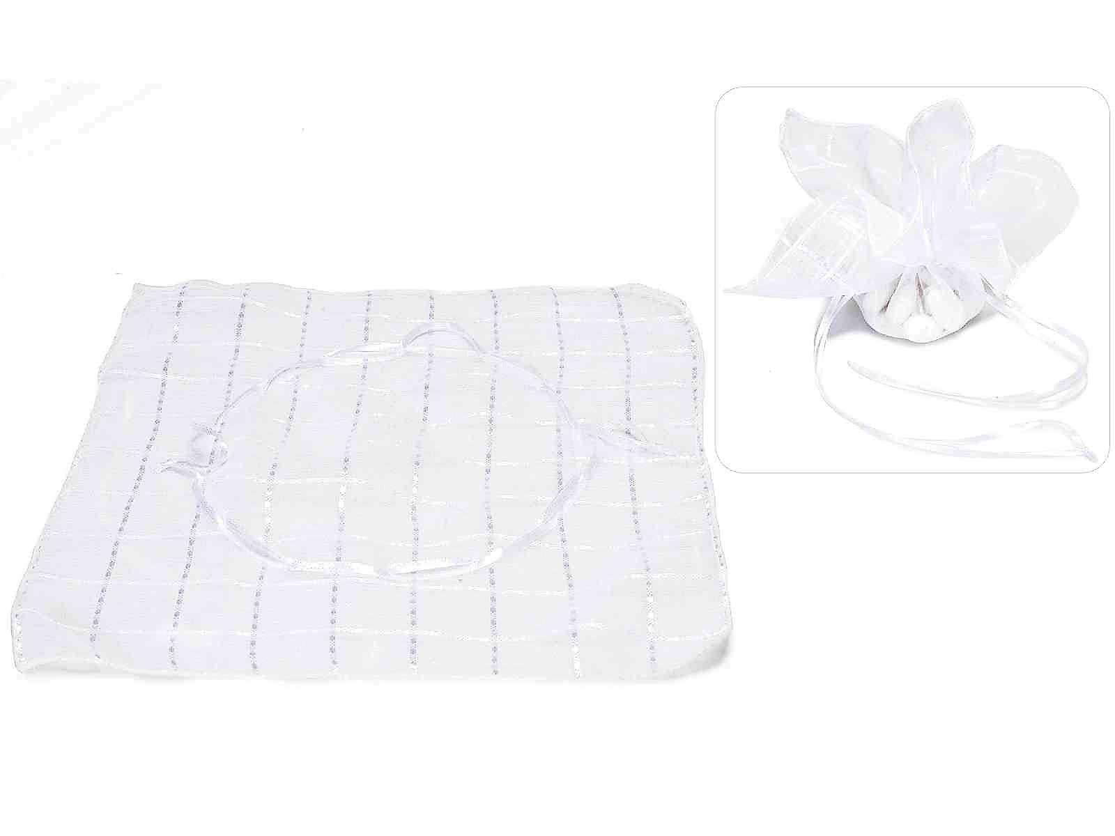Tulle quadrato a sacchetto in stoffa quadri bianco neve con tirante