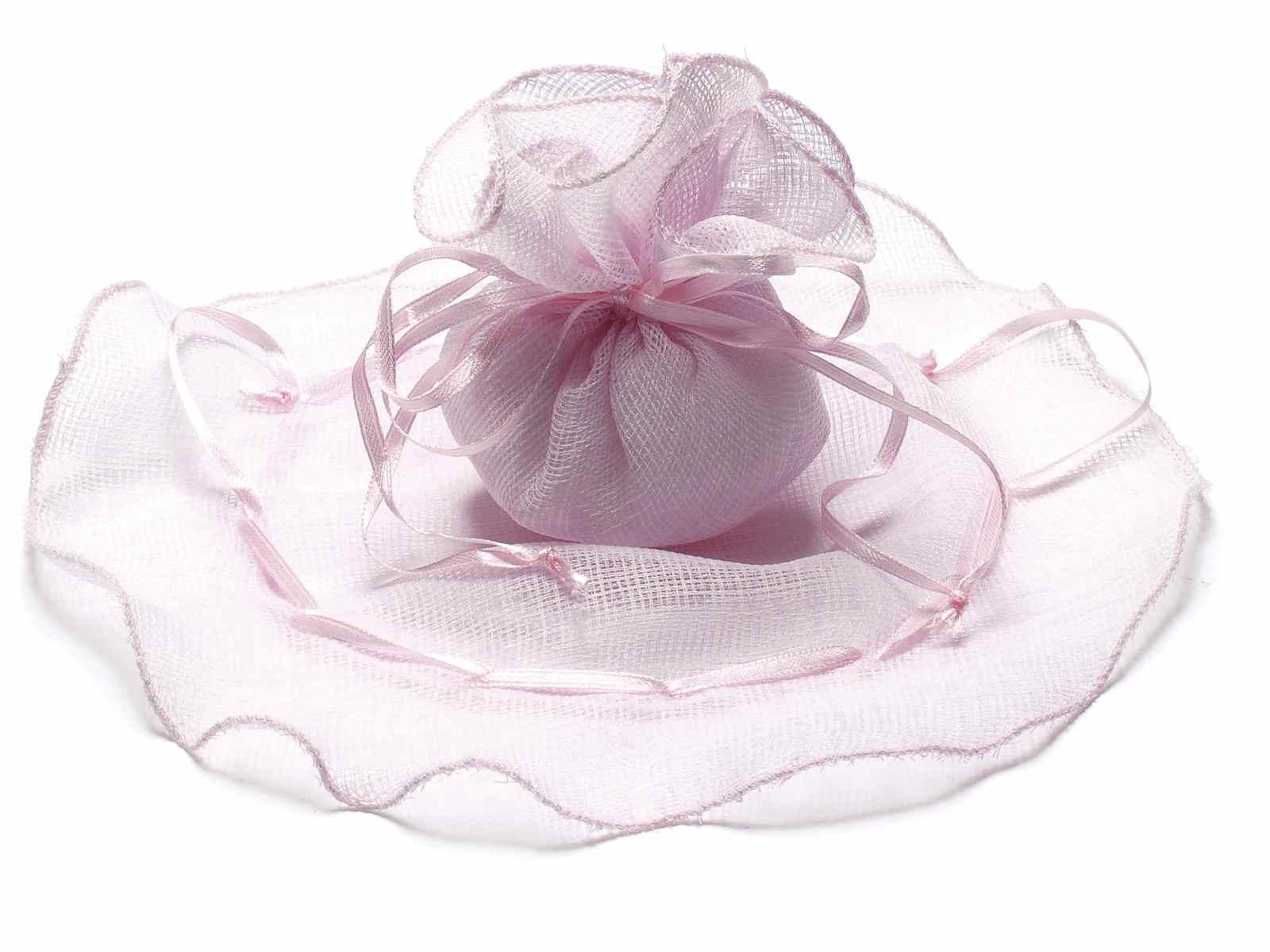 Tulle tondo in tela con bordo ondulato e tirante rosa confetto