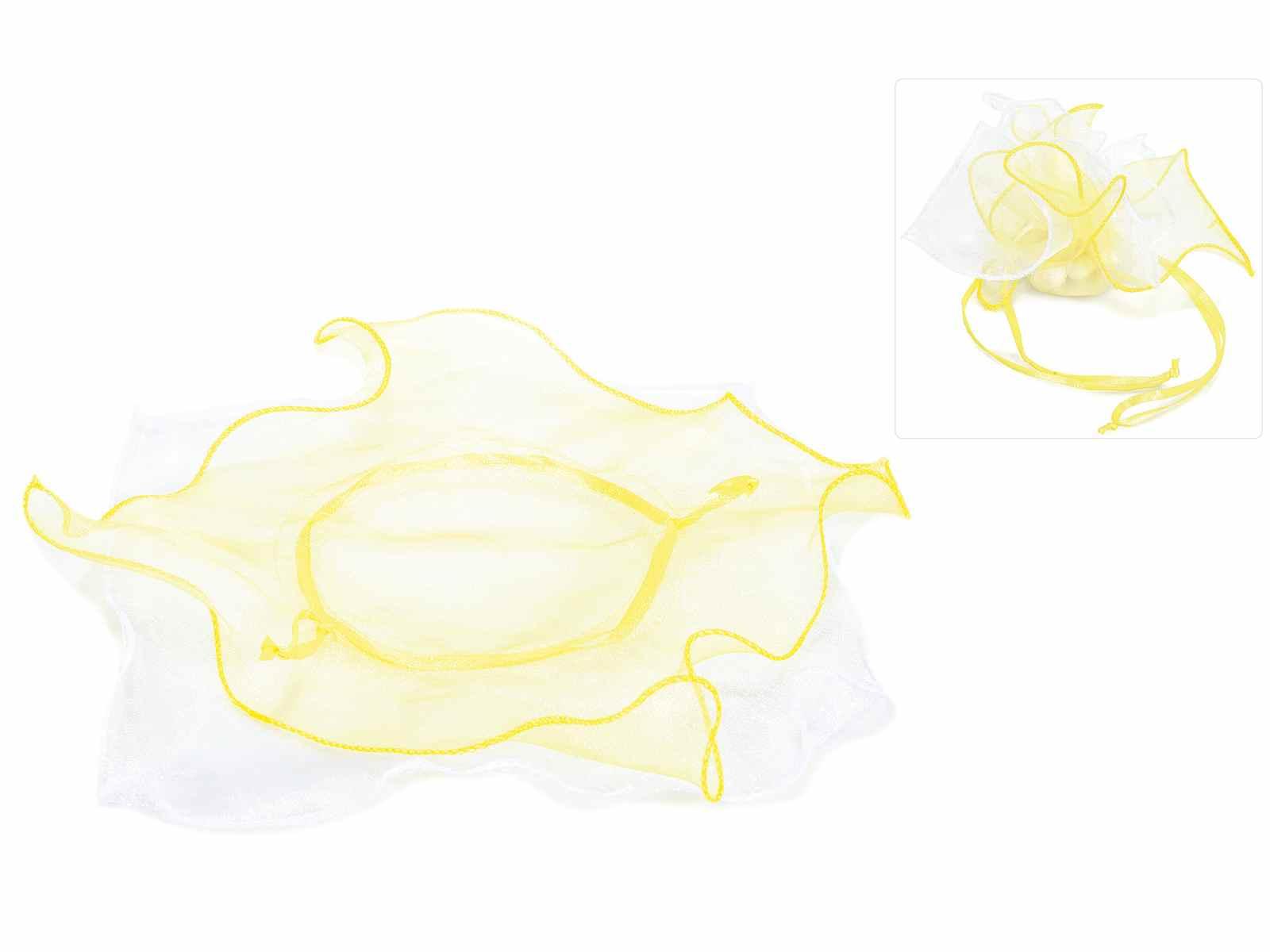 Tulle per bomboniera a stella in organza bianco e giallo e tirante