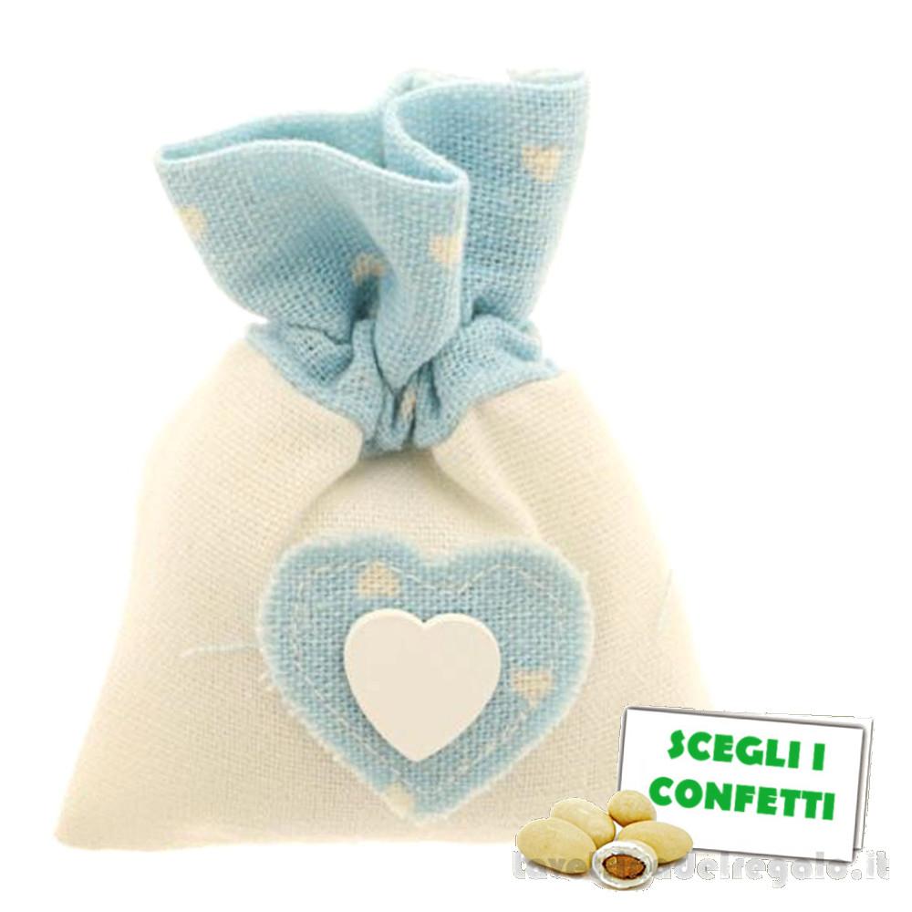 Portaconfetti Bianco e Celeste con Cuore 9x11 cm - Sacchetti battesimo bimbo