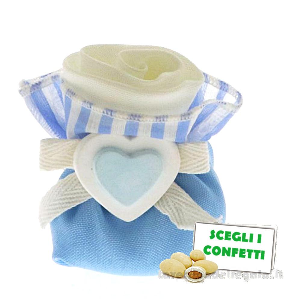 Portaconfetti Bianco e Celeste 2 Cuori 8 cm - Sacchetti battesimo bimbo