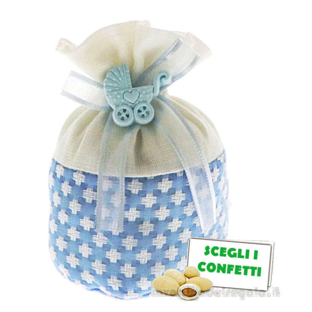 Portaconfetti palla Bianco e Celeste con carrozzina 10 cm - Sacchetti battesimo bimbo