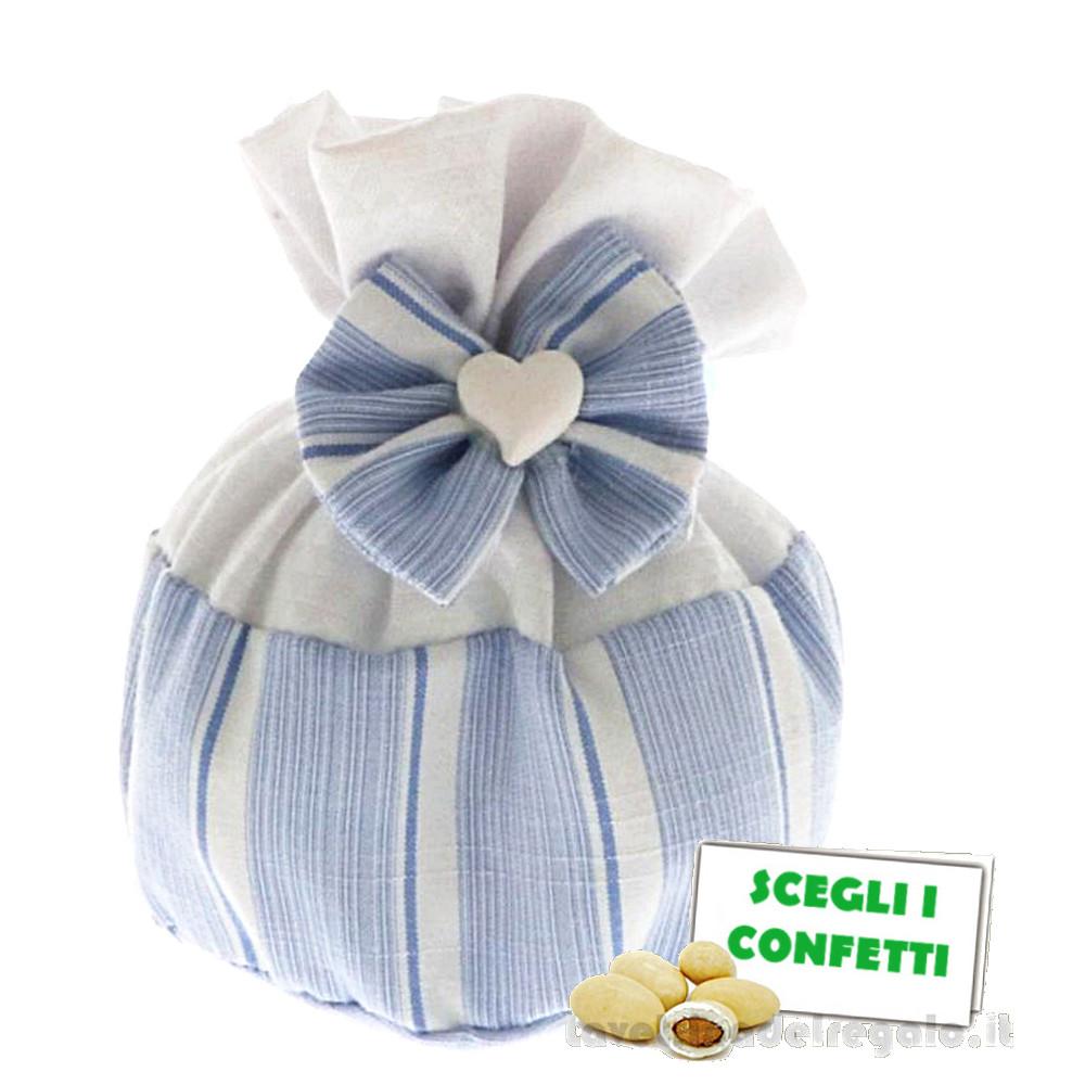 Portaconfetti palla Bianco e Celeste con cuoricino 10 cm - Sacchetti battesimo bimbo