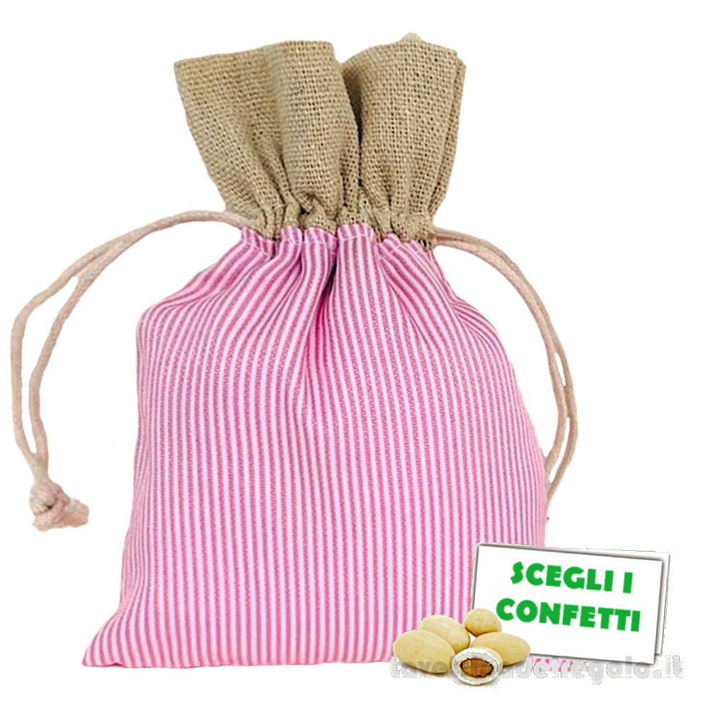 Portaconfetti Rosa a righe 10x14 cm - Sacchetti battesimo bimba