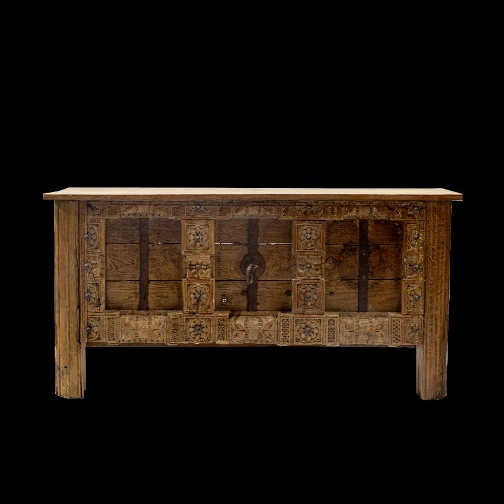 Consolle / bancone counter in legno di teak con portale antico