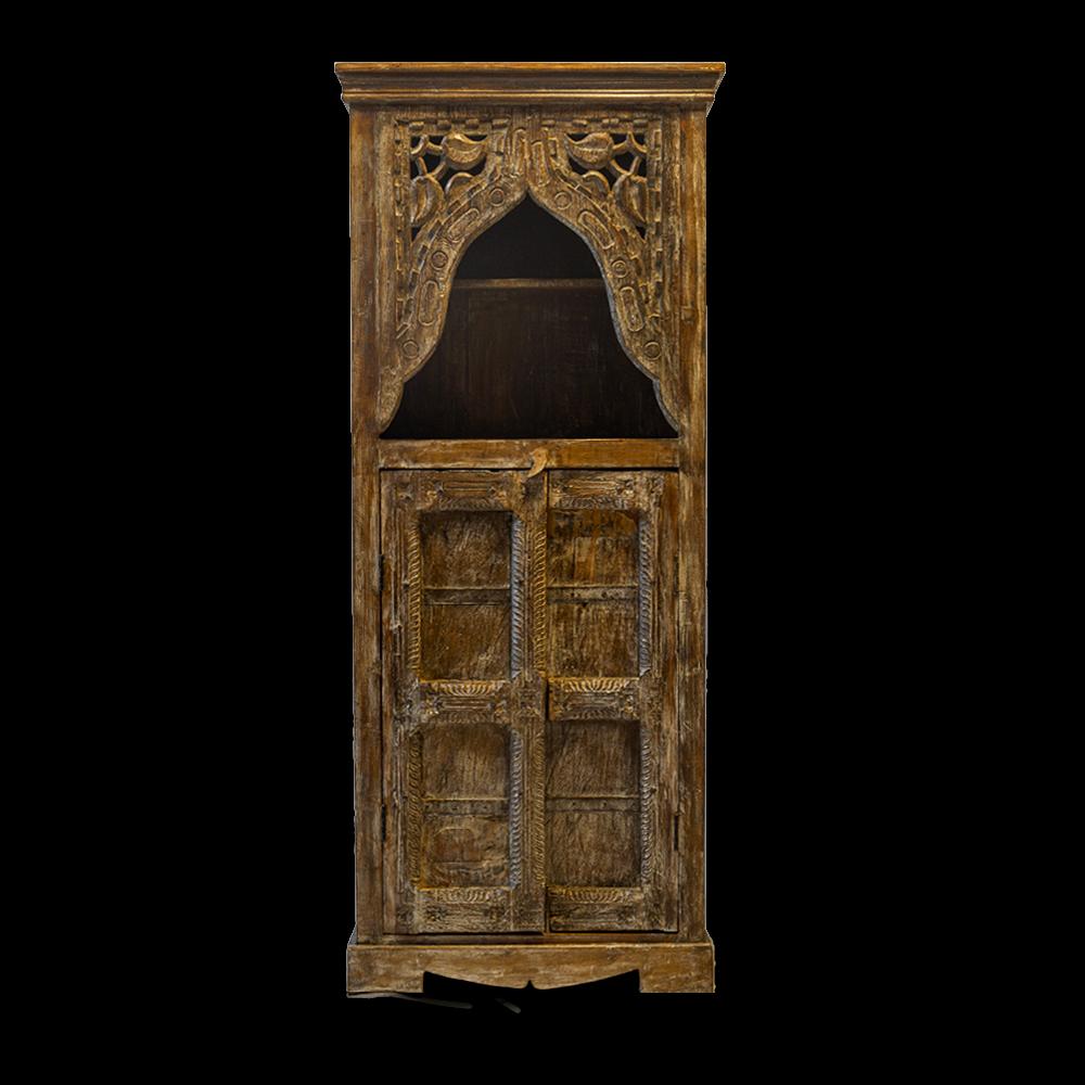 Libreria con intaglio / credenza con ante in legno di teak recuperato