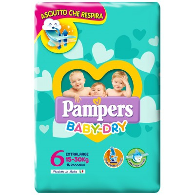 Pampers Baby Dry Extralarge (15-30 kg) 14 pezzi