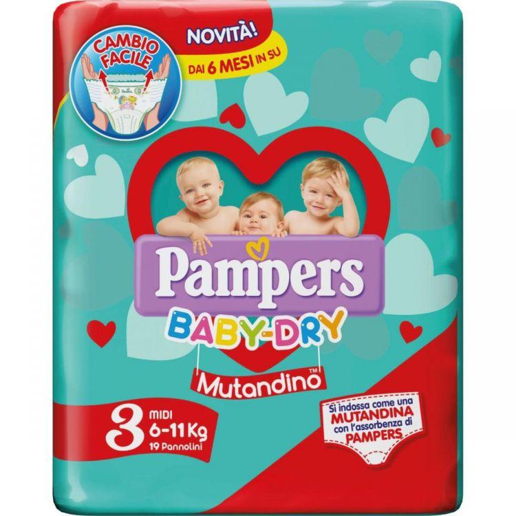 PAMPERS PANNOLINI BABY DRY MUTANDINO 3 MIDI ( 6-11 KG ) 19 pz