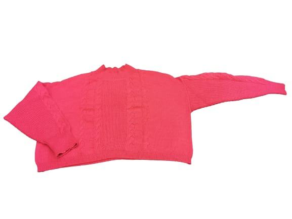 Maglia Maglioncino donna   collo lupetto   colore fuxia   motivo treccia   lana e viscosa   Made in Italy