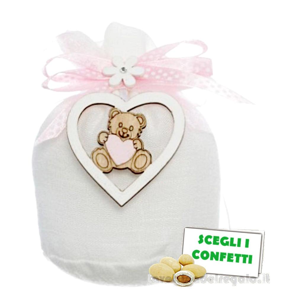 Portaconfetti palla Bianco con orsetto e fiocco Rosa 12 cm - Sacchetti battesimo bimba
