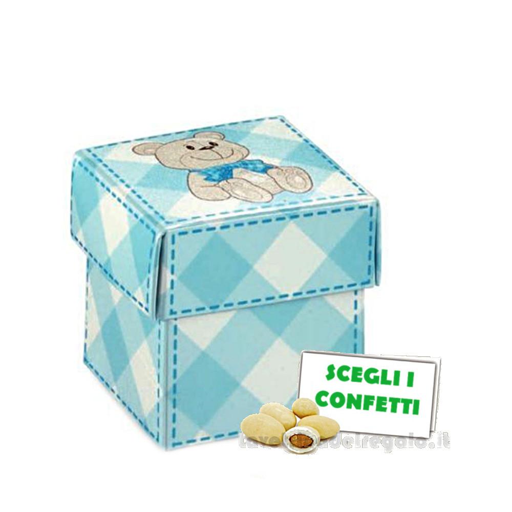 Portaconfetti Celeste con orsetto 5x5x5 cm - Scatole battesimo bimbo