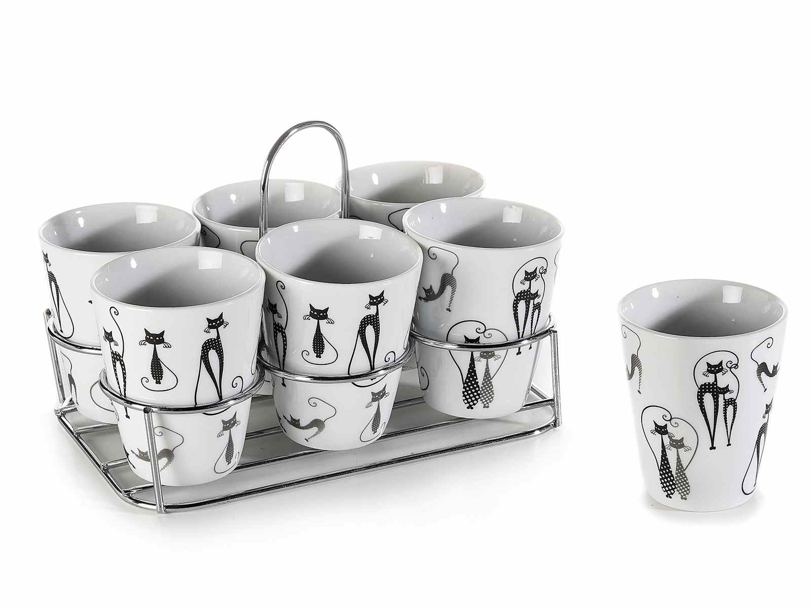 Set 6 tazzine porcellana con decori gatti e espositore in metallo