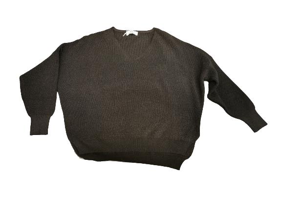 Maglia donna |lana ,viscosa e lurex | nera scollo V | made in Italy